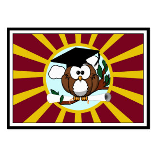 Graduation Owl With Red And Gold School Colors Pack Of Chubby Business Cards