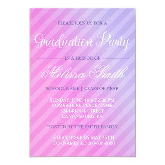 Graduation Party Elegant Pastel Pink Lilac Striped Card