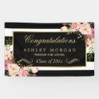 Graduation Party Gold Black White Floral Decor Banner