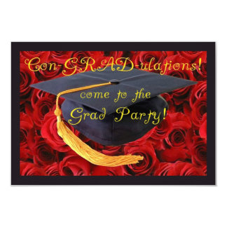 Graduation Party-Grad Cap on Bed of Roses Card