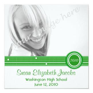 """Graduation Party - Green & White Invite 5.25"""" Square Invitation Card"""