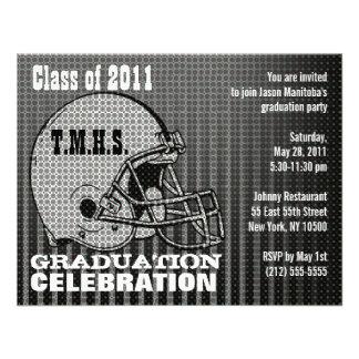 Graduation Party Invitation Football Helmet Grey