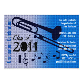 Graduation Party Invitation Music Trombone 1