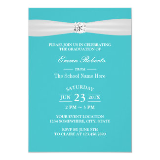 Graduation Party Modern Bright Diamond Turquoise Card
