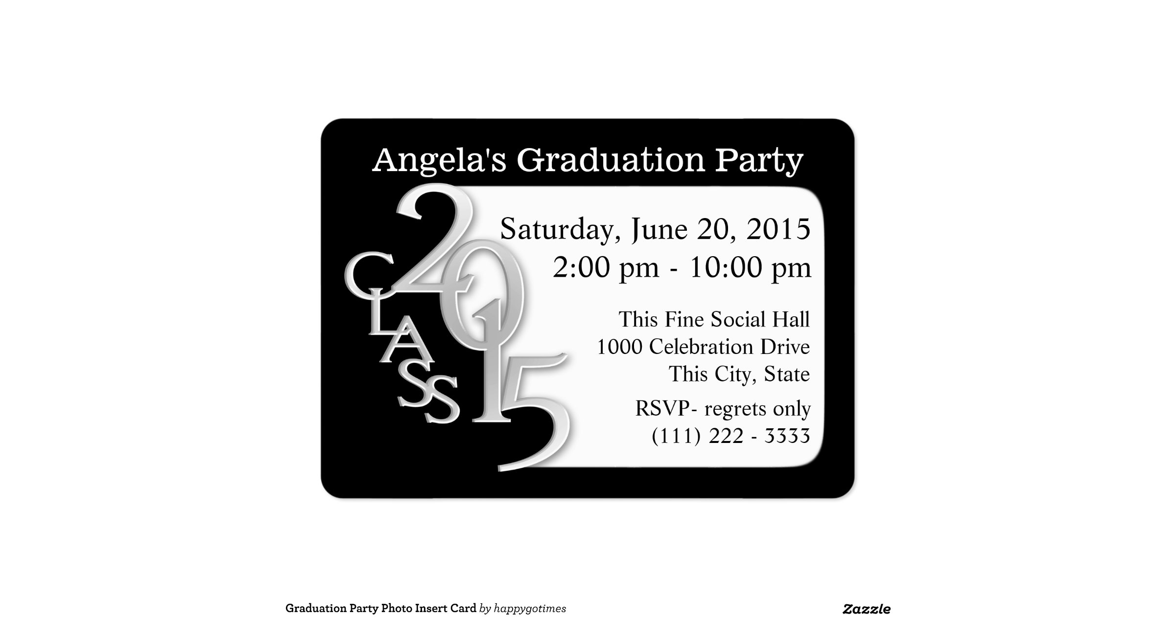 graduation party photo insert card pack of chubby business cards zazzle. Black Bedroom Furniture Sets. Home Design Ideas