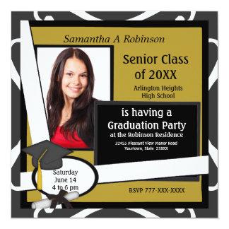 Graduation Party Photo Invitation Black Cap