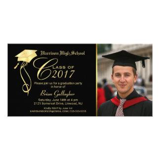 Graduation Party Photo Invitation Black & Gold Cap