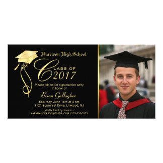Graduation Party Photo Invitation Black & Gold Cap Picture Card
