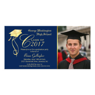 Graduation Party Photo Invitation with Gold Cap Customised Photo Card