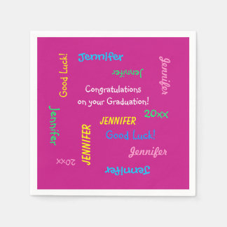 Graduation Party Repeating Names Pink Paper Disposable Napkins