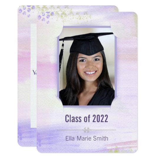 graduation pastel purplewatercolor with slit frame card