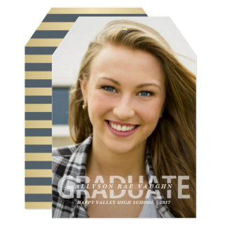 Graduation Photo Announcement Mod Preppy Stripes
