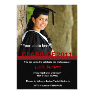 Graduation Photo Announcement Red & Black