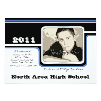 Graduation Photo/ Blue Stripe Card
