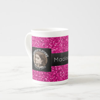 Graduation Photo Class of   Monogram Pink Black Tea Cup