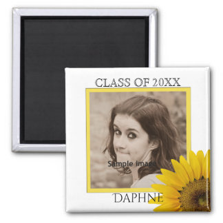 Graduation Photo Class of Name | Rustic Sunflower Magnet