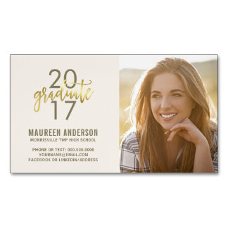Graduation Photo Name Cards Faux Gold Grad Magnetic Business Cards