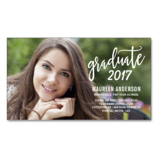 Graduation Photo Name Cards Modern Handwritten Magnetic Business Cards