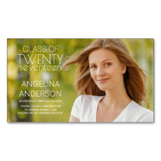 Graduation Photo Name Cards Modern Minimalist Text Magnetic Business Cards