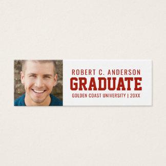 Graduation Photo Sporty Name Card - Custom Colors