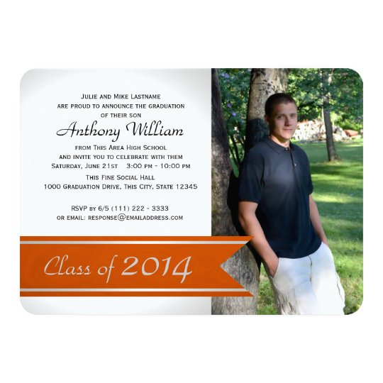 Graduation Photo Varsity Ribbon Orange Card