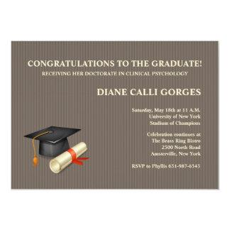 """Graduation Pin Stripe Invitation 5"""" X 7"""" Invitation Card"""