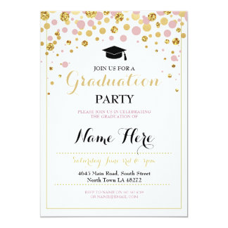 Graduation Pink Gold Girl's Party Graduate Invite