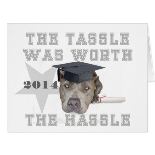 Graduation pitbull dog card