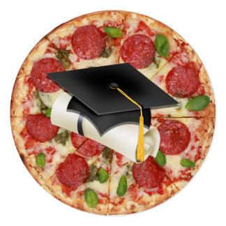 Graduation Pizza Party Round Invitation