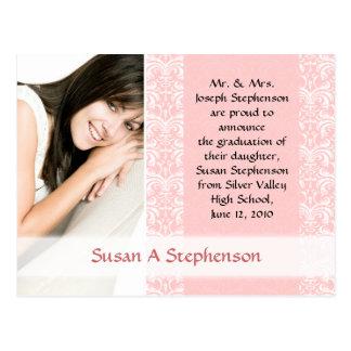 Graduation Postcard, Pretty Pink and White Postcard