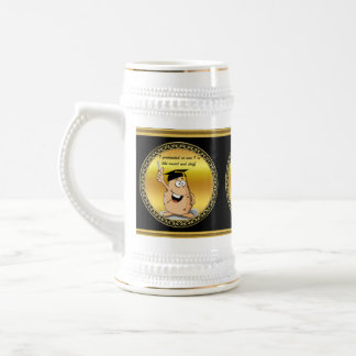Graduation potato character with a degree beer stein