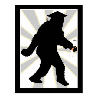 Graduation Sasquatch with Grad Cap Postcard