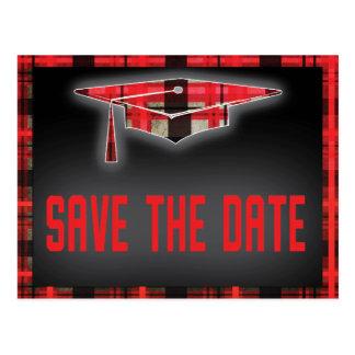Graduation Save The Date Modern Plaid Tartan Postcard