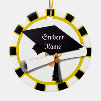 Graduation School Colors Black And Gold (ZOOM!) Christmas Tree Ornaments