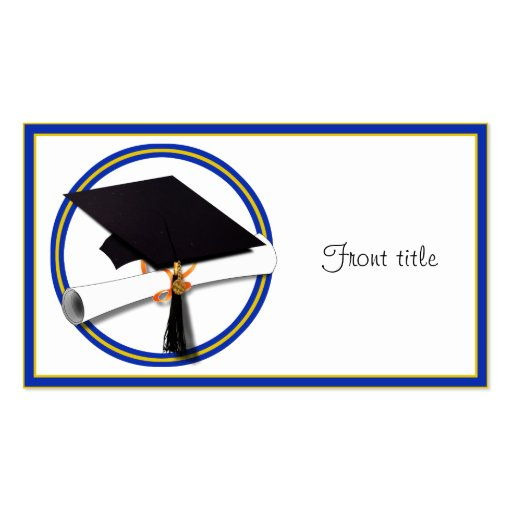 Graduation School Colors Blue And Gold Business Card Templates