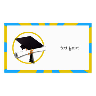 Graduation School Colors Blue And Gold ZOOM Business Card Template