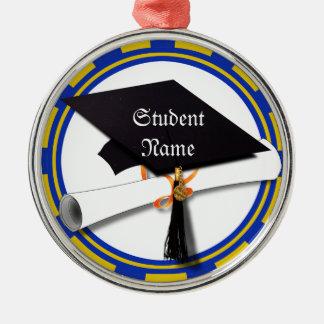 Graduation School Colors Blue And Gold (ZOOM!) Ornaments