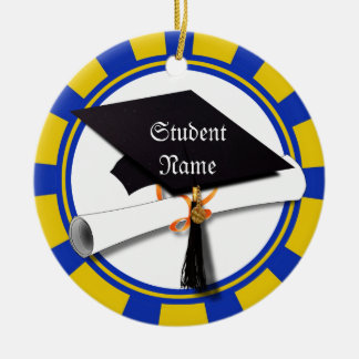 Graduation School Colors Blue And Gold (ZOOM!) Christmas Ornament