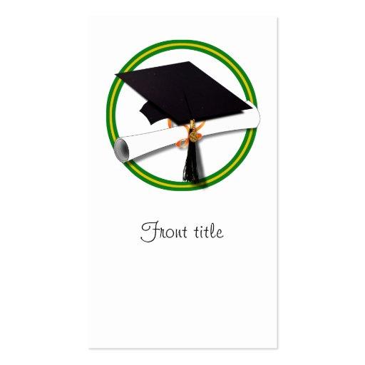 Graduation School Colors Gold & Green Business Card