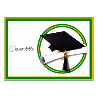 Graduation School Colors Gold Green Business Card Template