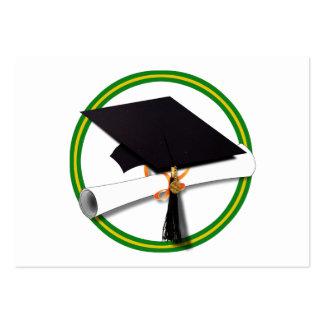 Graduation School Colors Gold & Green Business Card Template