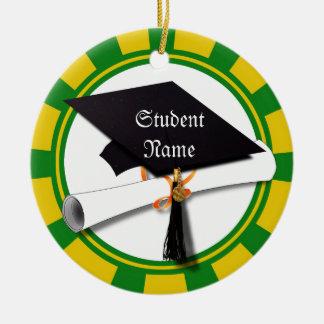 Graduation School Colors Gold & Green (ZOOM!) Ornaments