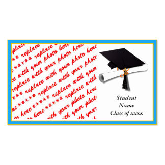 Graduation School Colors Lt Blue Gold Frame Business Card