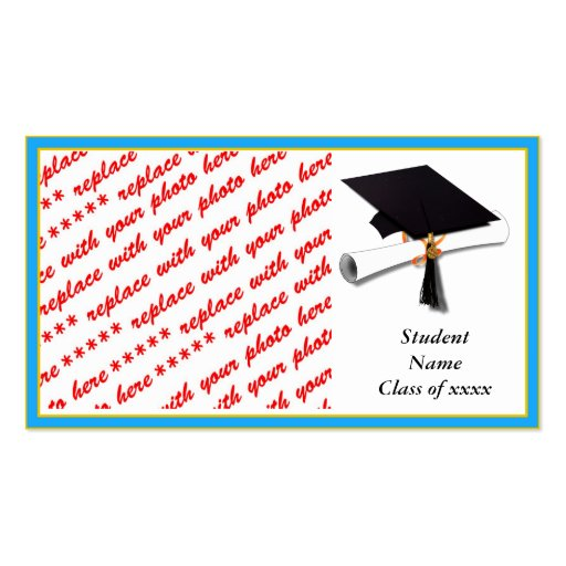 Graduation School Colors Lt. Blue& Gold Frame Business Card