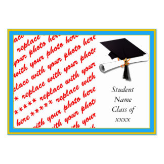 Graduation School Colors Lt Blue Gold Frame Business Card Template