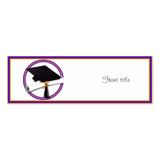 Graduation School Colors Purple and Gold Business Card Templates