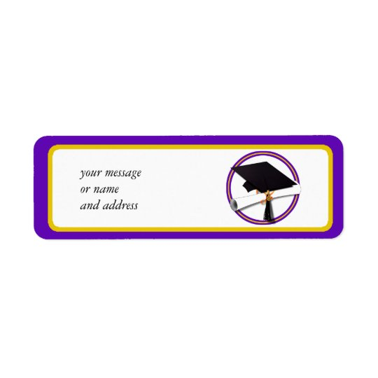 Graduation School Colours Purple and Gold Return Address Label