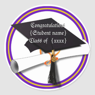 Graduation School Colours Purple and Gold Round Sticker