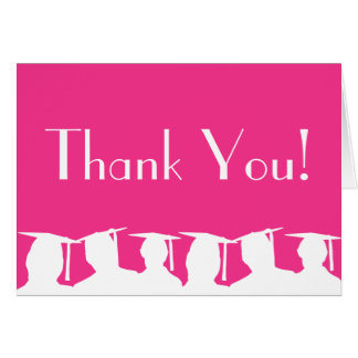 Graduation Silhouette Thank You Card (Hot Pink)
