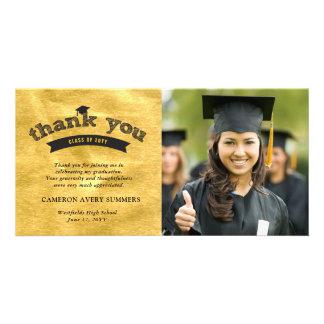Graduation Sketch Gold Foil Thank You Photo Card